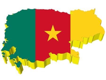 cameroon: vectors 3D map of Cameroon  Illustration