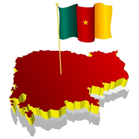 cameroon: three-dimensional image map of Cameroon with the national flag