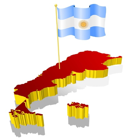 argentina flag: three-dimensional image map of Argentina with the national flag