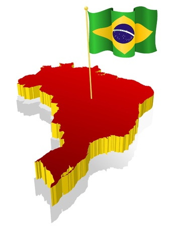three-dimensional image map of Brazil with the national flag  Vector