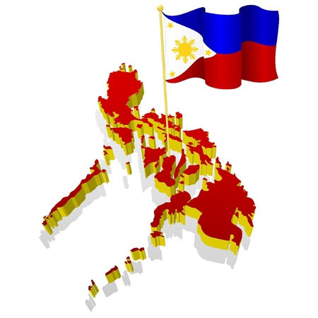 philippines map: three-dimensional image map of Philippines with the national flag