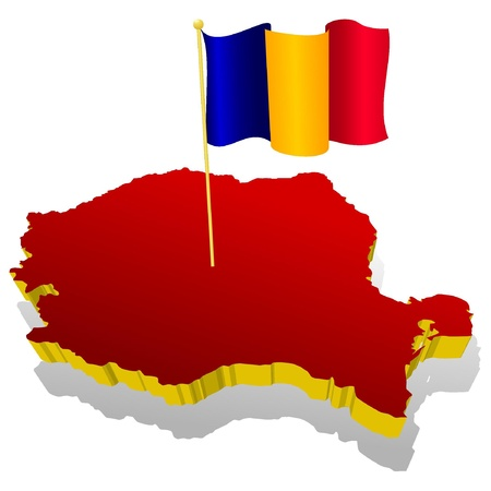 three-dimensional image map of Romania with the national flag  Vector