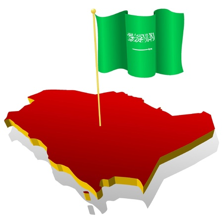three-dimensional image map of Saudi Arabia with the national flag  Vector