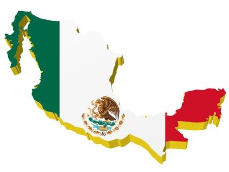 bandera mexico: vectores 3D mapa de M�xico