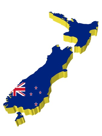 zealand: vectors 3D map of New Zealand Illustration