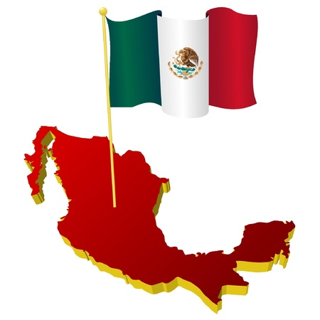 mexico background: three-dimensional image map of Mexico with the national flag  Illustration