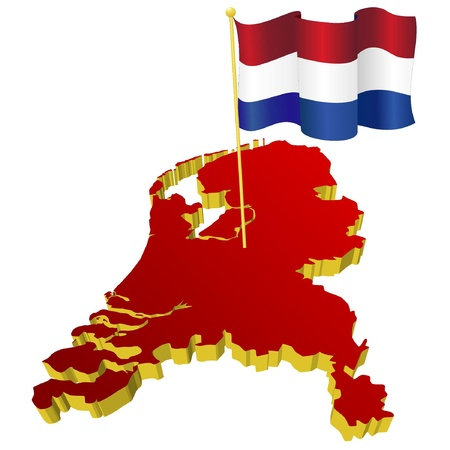 three-dimensional image map of Netherlands with the national flag  Vector