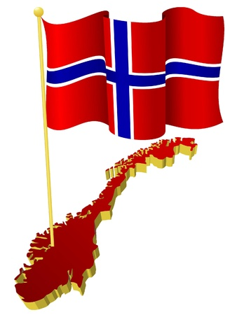 norway flag: three-dimensional image map of Norway with the national flag   Illustration