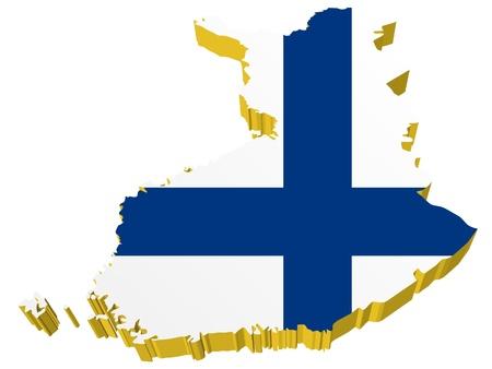 Vektoren 3D-Karte von Finnland