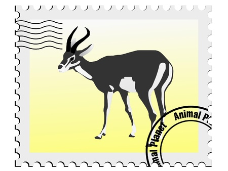 vector stamp with the image of an gazelle  Stock Vector - 13277724