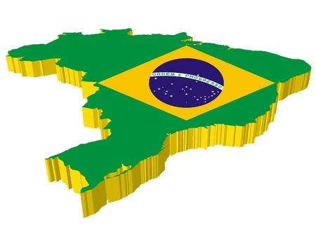 vectors 3D map of Brazil Stock Vector - 13278208