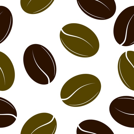 processed grains: Black and green coffee beans. Seamless texture. vector