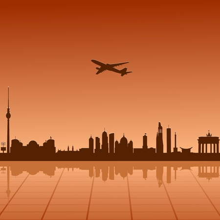 Airplane flying over Berlin Vector