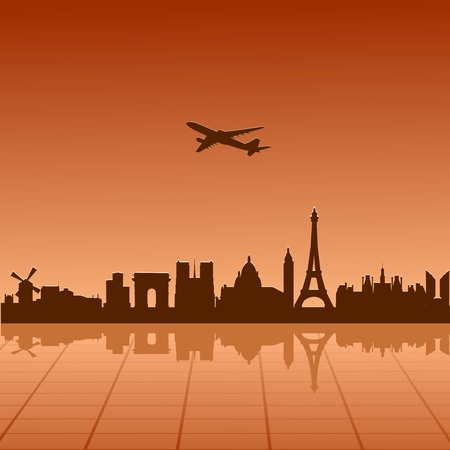 Airplane flying over Paris Stock Vector - 13277695