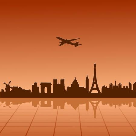 paris skyline: Airplane flying over Paris