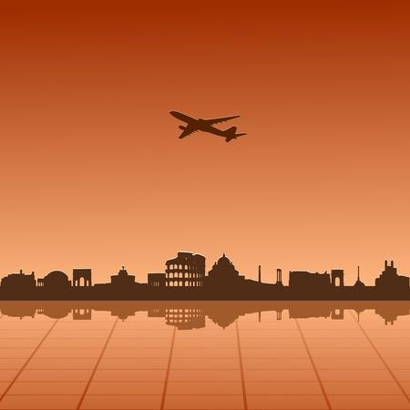 Illustrazione vettoriale di paesaggio urbano di Roma