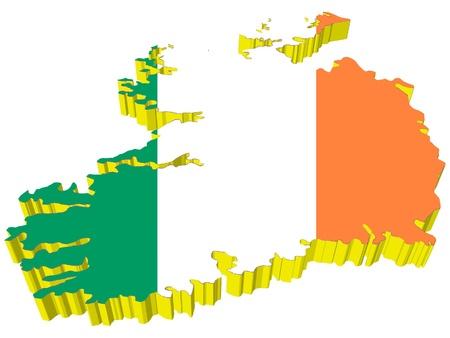 vectors 3D map of Ireland  Vector