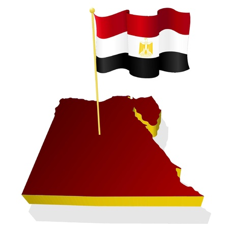 three-dimensional image map of Egypt with the national flag  Vector