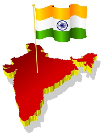 map of india: three-dimensional image map of India with the national flag  Illustration