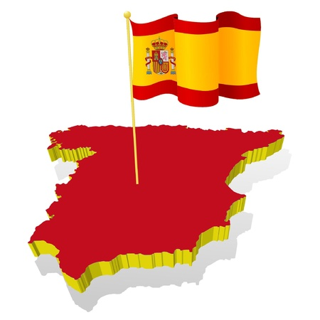 flag of spain: three-dimensional image map of Spain with the national flag