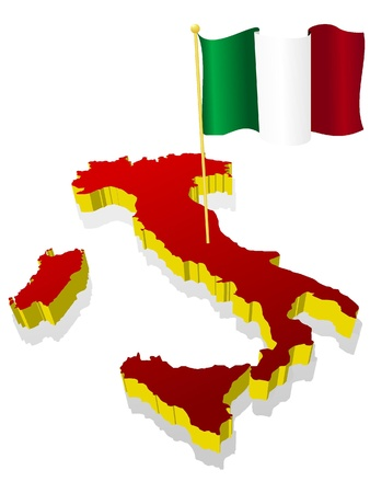 three-dimensional image map of Italy with the national flag  Vector