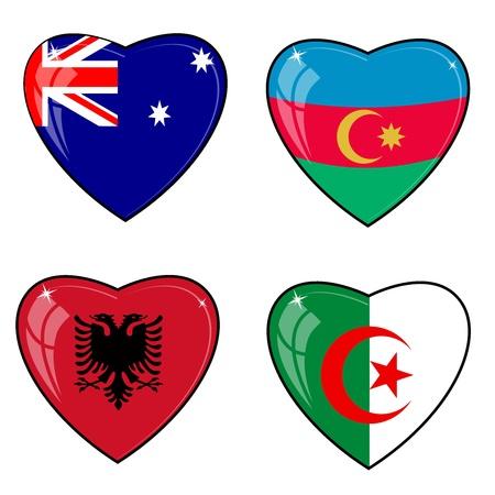 Algeria: Set of vector images of hearts with the flags of Australia, Azerbaijan, Albania, Algeria