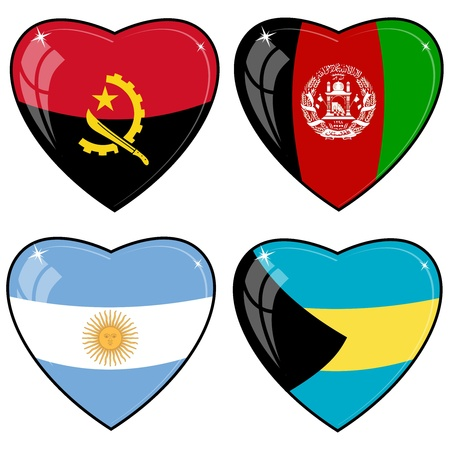 Set of vector images of hearts with the flags of Afghanistan, Angola, Argentina, Bahamas Vector