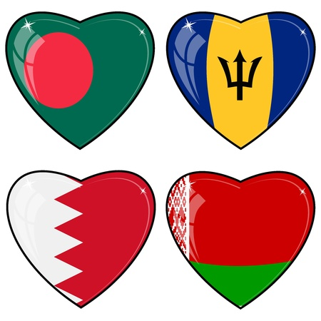 Set of vector images of hearts with the flags of Bangladesh, Barbados, Bahrain, Belarus Vector