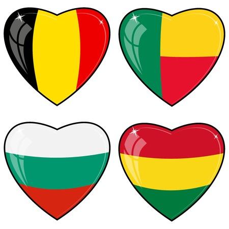 bandera bolivia: Conjunto de im�genes vectoriales de corazones con las banderas de B�lgica, Benin, Bolivia, Bulgaria Vectores