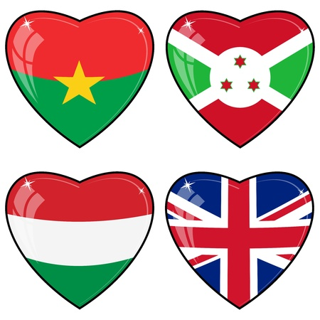 Set of vector images of hearts with the flags of Burkina Faso, Great Britain, Hungary, Brunei Vector