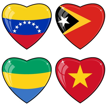 Venezuela flag: Conjunto de im�genes vectoriales de corazones con las banderas de Venezuela, Timor Oriental, Vietnam, Gab�n