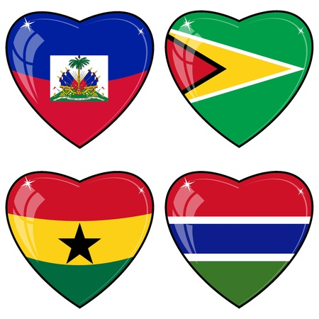Set of vector images of hearts with the flags of Guyana, Haiti, Gambia, Ghana Vector