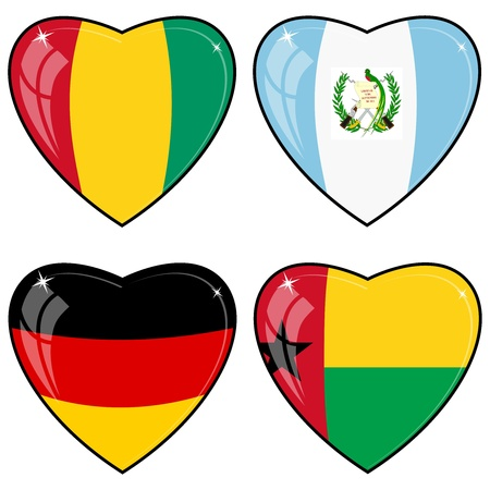 Set of vector images of hearts with the flags of Germany, Guatemala, Guinea, Guinea-Bissau Vector