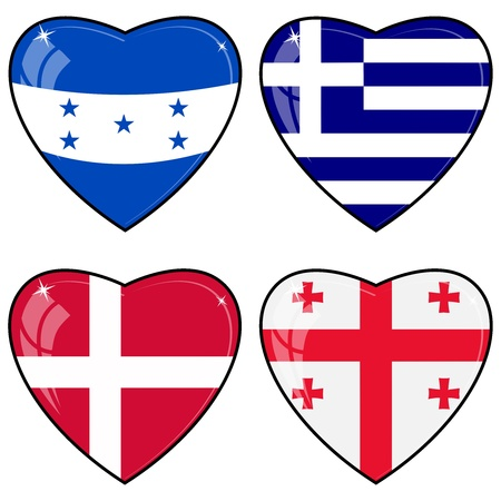 Set of vector images of hearts with the flags of Honduras, Georgia, Greece, Denmark Vector
