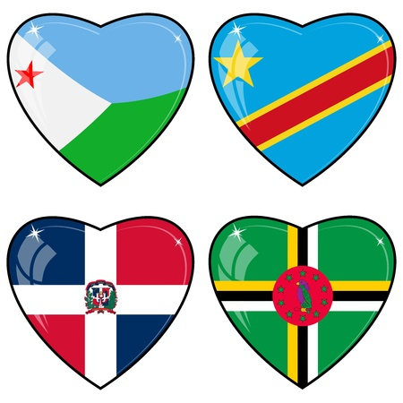 images of hearts with the flags of Congo, Djibouti, Dominica, Dominican Republic Vector