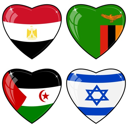 Set of vector images of hearts with the flags of  Egypt, Zambia, Sahara, Israel, Illustration