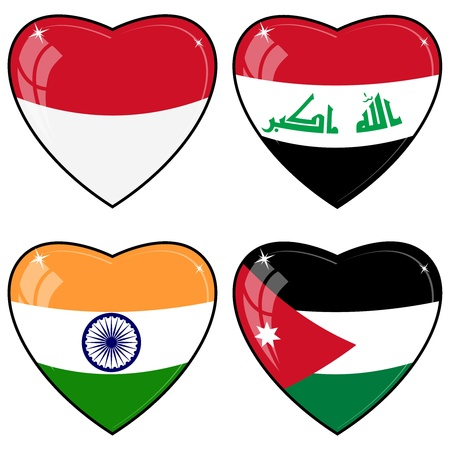 images of hearts with the flags of  India, Indonesia, Jordan, Iraq, Vector