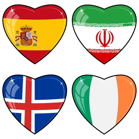 Set of vector images of hearts with the flags of Iran, Ireland, Iceland, Spain,  Vector