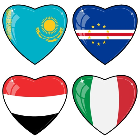 images of hearts with the flags  of Italy, Yemen, Cape Verde, Kazakhstan Vector