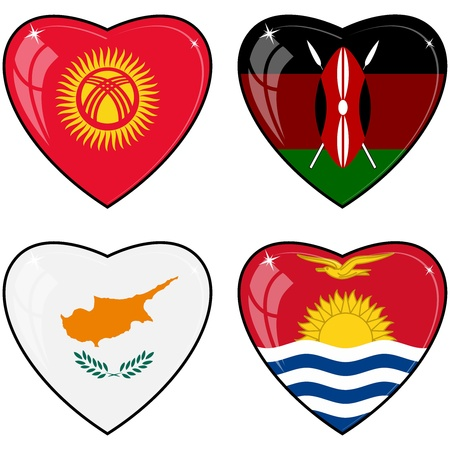 images of hearts with the flags  of Kenya, Cyprus, Kyrgyzstan, Kiribati Vector