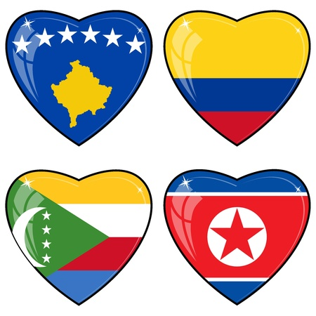 images of hearts with the flags of Korea, Colombia, Comoros, Kosovo Vector