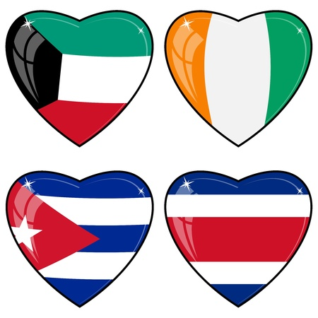 images of hearts with the flags of Costa Rica, Cote d Ivoire, Cuba, Kuwait  Vector
