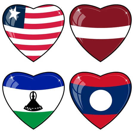 images of hearts with the flags of Laos, Latvia, Lesotho, Liberia Vector
