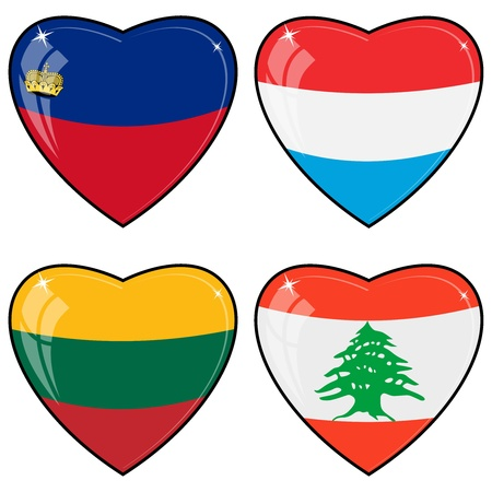 liechtenstein:  images of hearts with the flags of  Lebanon, Luxembourg, Lithuania, Liechtenstein Illustration