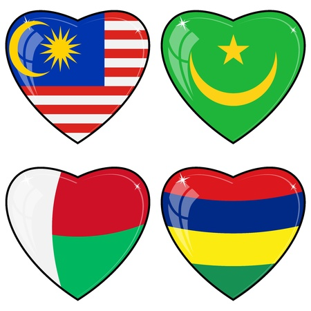 images of hearts with the flags of Malaysia, Mauritius, Mauritania, Madagascar Vector