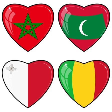 images of hearts with the flags of Mali, Maldives, Malta, Morocco Vector