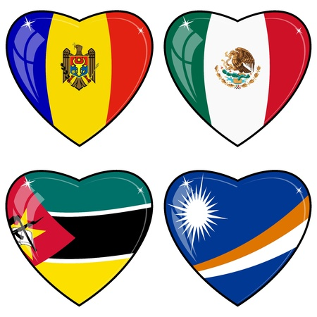 images of hearts with the flags of Marshall Islands, Mexico, Mozambique, Moldova, Vector