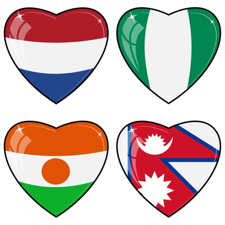 images of hearts with the flags of Nepal, Niger, Nigeria, Netherlands Vector