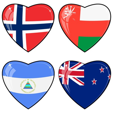 images of hearts with the flags of Norway, United Arab Emirates, Nicaragua, New Zealand Vector