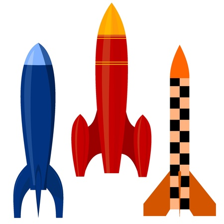 Vector illustration of a set of rockets. EPS10 Vector